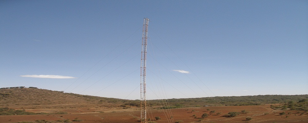 Wind data mast on location