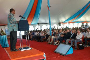 H.E. President Uhuru Kenyatta addresses guests during the inauguration ceremony