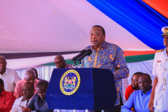 H.E. President Uhuru Kenyatta addresses guests during the inauguration