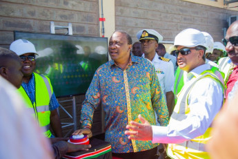 H.E. President Uhuru Kenyatta turns on a wind turbine at the LTWP substation during the inauguration