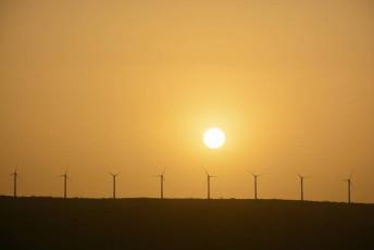 Wind turbines and sunrise