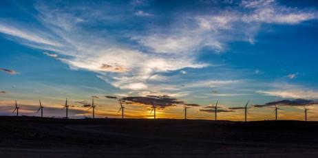 Wind turbines and sunset